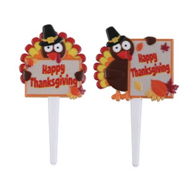 Happy Thanksgiving Turkeys -24pk Cupcake / Desert / Food Decoration Topper Picks with Favor Stickers & Sparkle Flakes