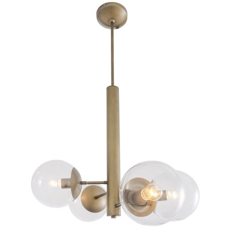 Rogue Décor Mid - Century - 4 Light Chandelier - Antique Brass Finish with Clear Glass