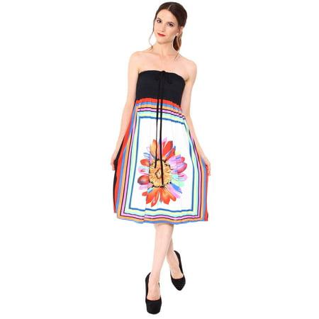 Women Summer Flower Print Halter Tube Top Dress Beach Dress Sundress](Halter Top Dresses)