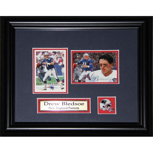 Midway Memorabilia Drew Bledsoe New England Patriots 2 Card Frame