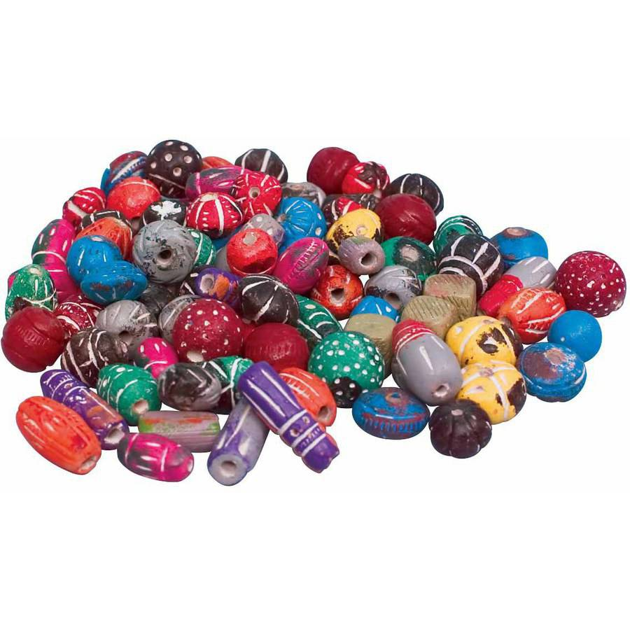 "School Specialty Clay Assorted Shape Large Bead, 0.5"" to 1"", Assorted Colors, 0.5 Pound"