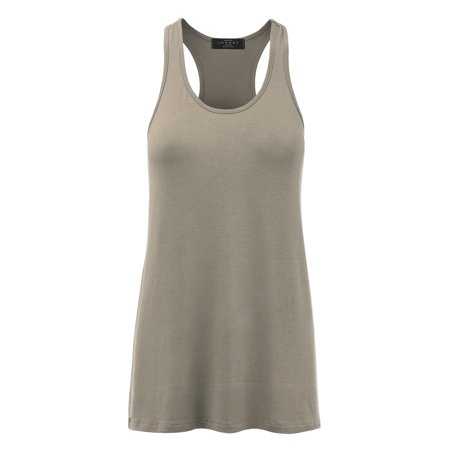 3d641e27489cfb WT1086 Womens Solid Basic Relaxed Racerback Tank Top M WHITE - Walmart.com