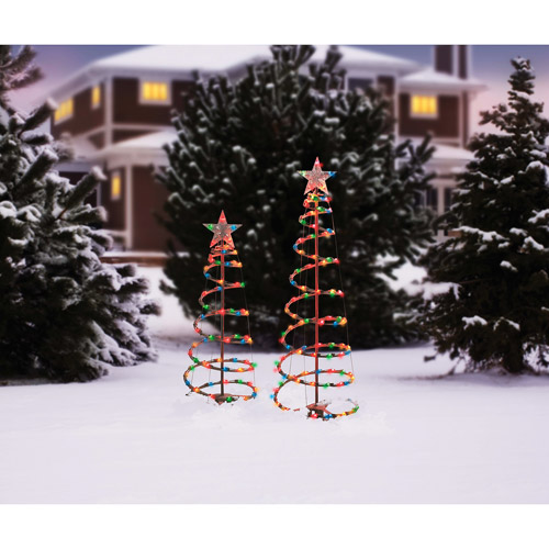Holiday Time 3' and 4' Lighted Spiral Christmas Tree Sculptures, Multi-Color Lights (2-Pack)