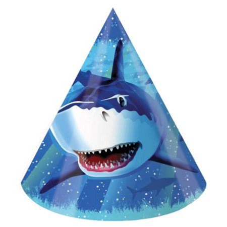 Club Pack of 96 Blue Shark Splash Child Sized Paper Party Hats 9