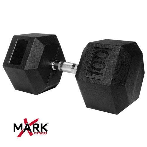 X-Mark 100 lb Rubber Hex Dumbbell