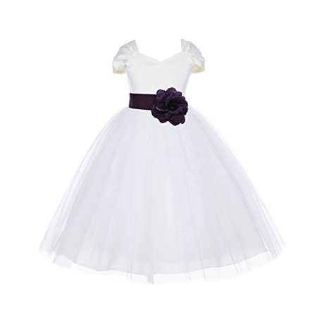 Ekidsbridal Ivory V-Shaped Neckline Short Sleeves Flower Girl Dress Toddler Girl Dresses Communion Dress Evening Gown Christening Dresses Baptism Dress Pageant Gown Wedding Tulle Dresses