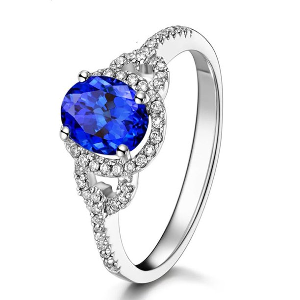 Diamond Rings For Sale Walmart: Just Perfect 1 Carat Blue Sapphire And