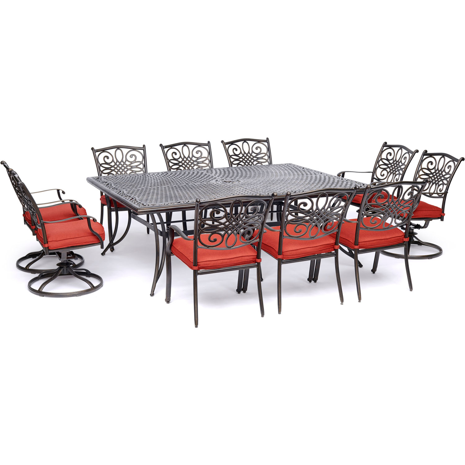 Hanover Traditions 11-Piece Outdoor Dining Set with Cast-Top Table, 4 Swivel Rockers and 6 Stationary Chairs