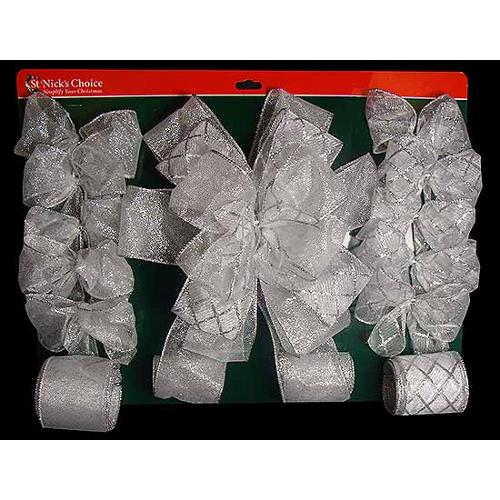 13-Piece Silver Glittery Bow and Ribbon Christmas Tree Trim Decorating Kit