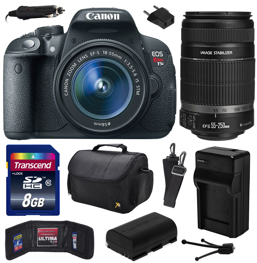 Canon EOS Rebel T5i Digital SLR with 18-55mm STM and EF-S 55-250mm f/4-5.6 IS II Lens includes 8GB Memory, Large Case, Battery, Charger, Memory Card Wallet, Cleaning Kit (8GB Value Bundle) 8595B003
