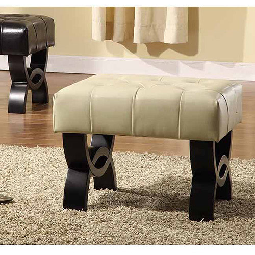 "Central Park 24"" Tufted Leather Ottoman, Multiple Colors"