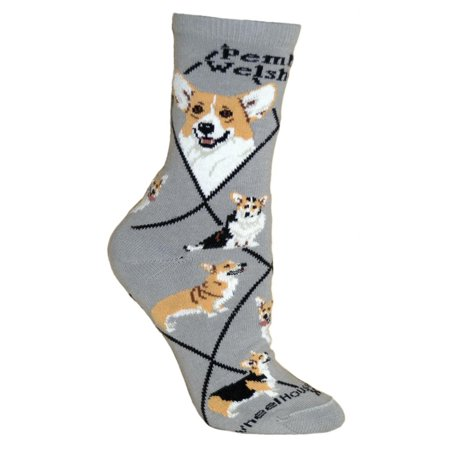 Pembroke Welsh Corgi Dog Gray Cotton Ladies Socks (Dog Ladies Socks)