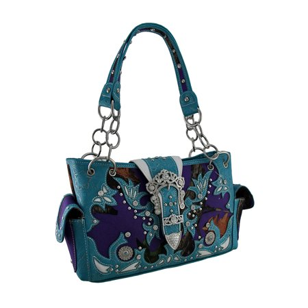Camo Carry Bag (Zeckos - Purple Camo Forest Camouflage Rhinestone Buckle Concealed Carry Handbag - Turquoise - Size)
