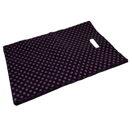Unique Bargains Shop Dots Handbag Tote Carrier Holder Gift Shopping Bag Black 46 x 30cm 40pcs