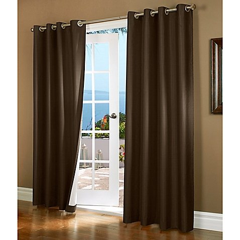 "(#32) Hotel Quality SILVER Grommet Top, FAUX SILK  1 PANEL BROWN SOLID THERMAL FOAM LINED BLACKOUT HEAVY THICK WINDOW CURTAIN DRAPES  GROMMETS 84"" LENGTH"