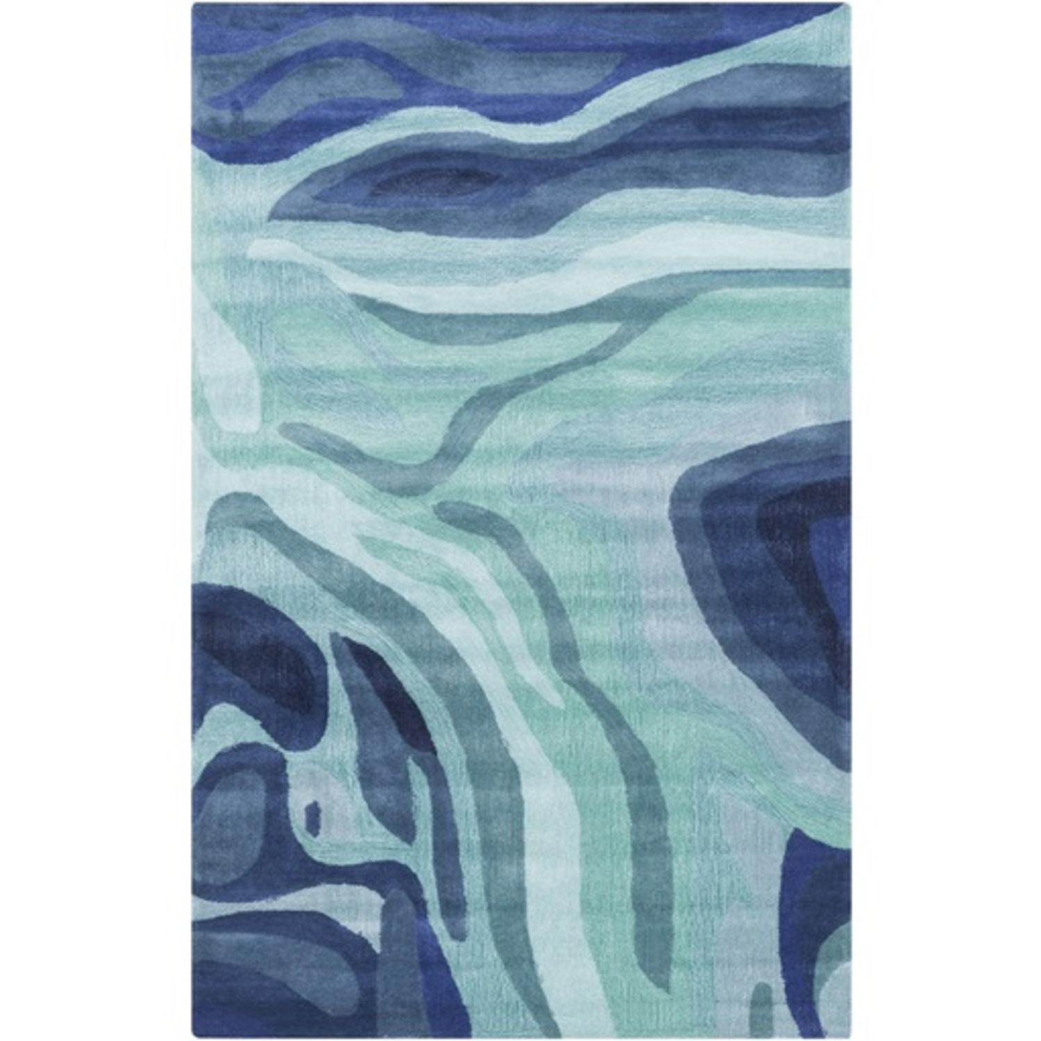 8' x 11' Painted Canyon Navy Blue and Aqua Blue Hand Tufted Area Throw Rug