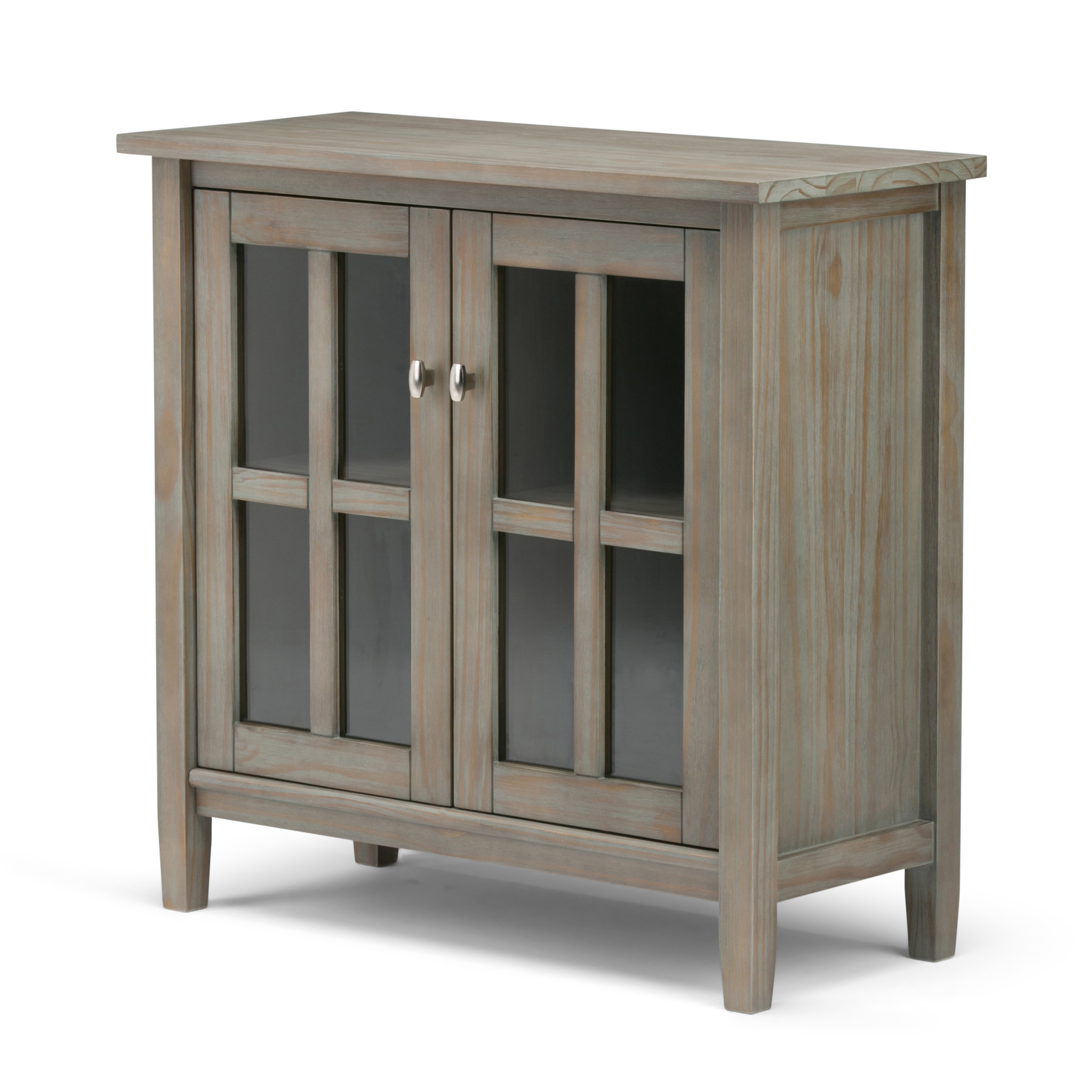 Brooklyn Max Lexington Solid Wood 32 Inch Wide Rustic Low Storage Cabinet In Distressed Grey Walmart Com Walmart Com