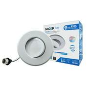 NICOR Lighting 5/6-Inch Dimmable 3000K LED Gimbal Recessed Downlight, White (DLG56-10-120-3K-WH)