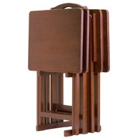 5-Piece Alex Solid Wood Walnut Finished Foldable Snack Table Set 25.75""