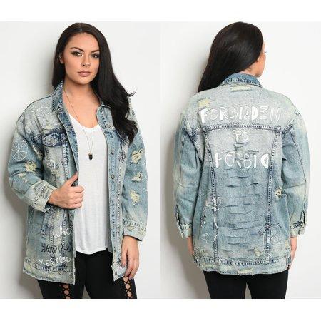 0e1fb53767f JED FASHION - JED FASHION Women s Plus Size Oversized Denim Distressed  Jacket - Walmart.com