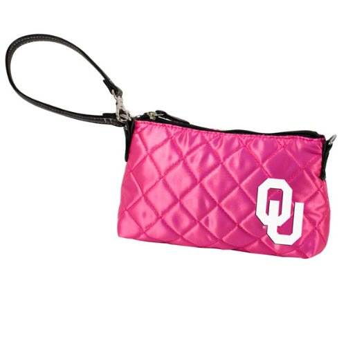 NCAA Oklahoma, Pink Quilted Wristlet