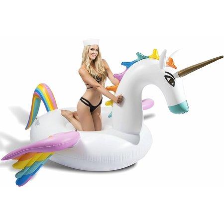 Giant Rainbow Pegasus Unicorn Pool Float, Swim Raft Floatie Lounger by Captain Floaty - For Kids and Adults (Luxury - Rainbow Pegasus