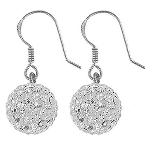 Doma Jewellery SSEZ578-12M Sterling Silver Earring With Crystal- 12 mm. diameter