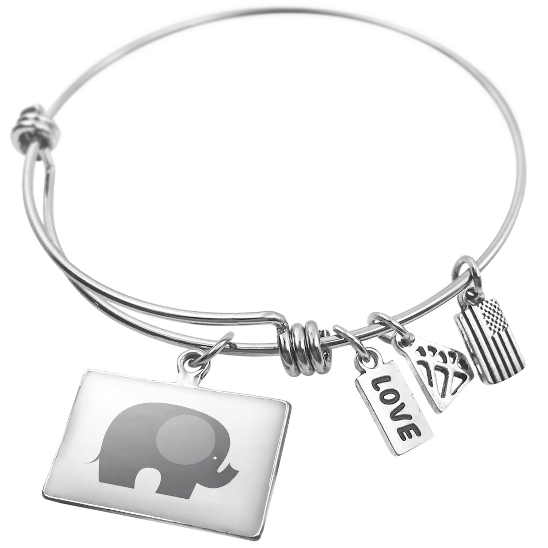 Expandable Wire Bangle Bracelet Kids Design Baby Elephant - NEONBLOND