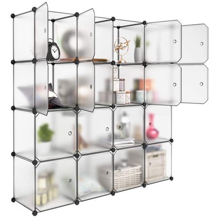 LANGRIA 16 Storage Cube Organizer Plastic Cubby Shelving Drawer Unit, DIY Modular Bookcase Closet System Cabinet with Translucent Design for Clothes, Shoes, - Modular Armless Unit