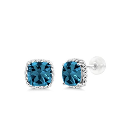 3.70 Ct Cushion 7mm London Blue Topaz 10K White Gold Stud (Blue Topaz Trillion Stud)