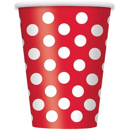 Red Polka Dot Bandana ((4 Pack) 12oz Polka Dot Paper Cups, Red,)