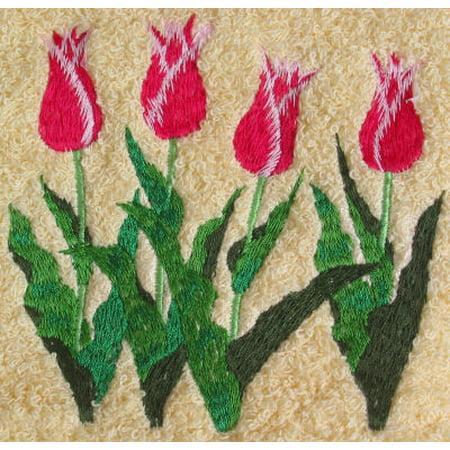 White Tulip - Big Black Horse Embroidered Tulips Towel Set - White