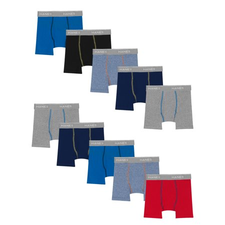 Hanes Boys Tagless ComfortFlex Waistband Boxer Briefs, 10-Pack, Sizes 6/8-18/20