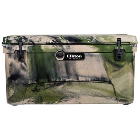 Elkton Outdoors 110 Quart Ice Chest With Bear Resistant Lock Plates, Bottle Opener, Easy Grab Handles & High Performance Commercial Grade Insulation (Camo)