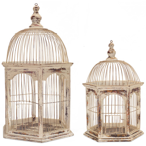 Melrose International 2 Piece Rustic Wire Decorative Bird Cage Set