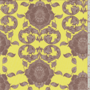 Yellow/Brown Floral Print Voile, Fabric By the Yard