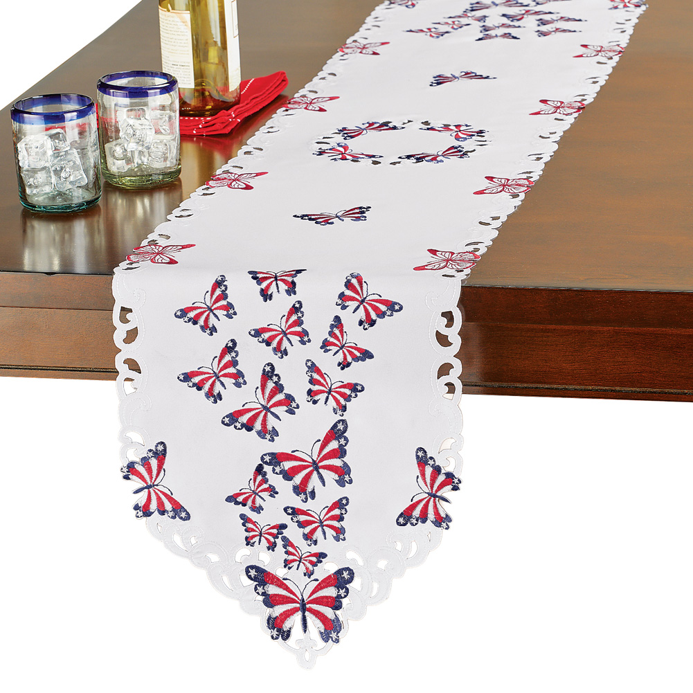 Patriotic Fluttering Butterflies Embroidered Cutwork Table Linens Indoor Decoration, Runner