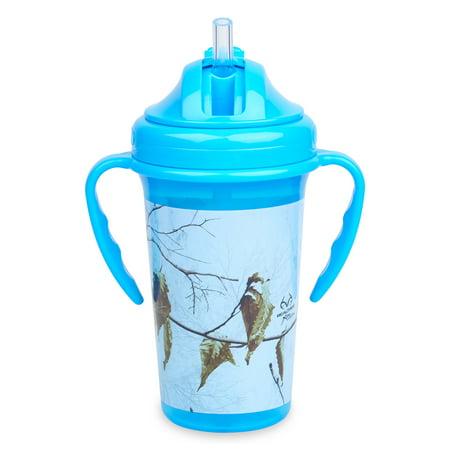 Copia RealTree Camo Xtra Colors Blue Straw Top Sippy Cup 10oz, with Handles](Camo Cup)