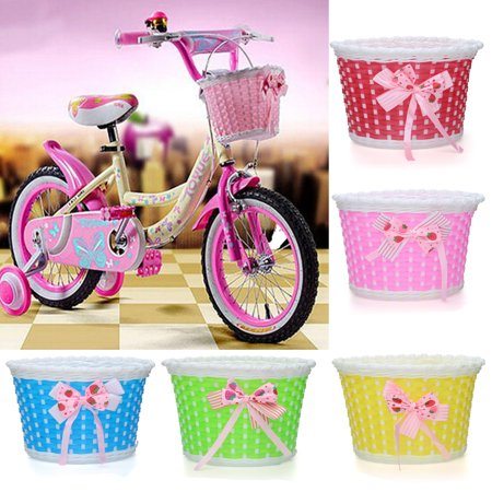 Kids Children Bike Wicker Plastic Front Bicycle Basket Shopping Flower Holder Case Easy Installation ()