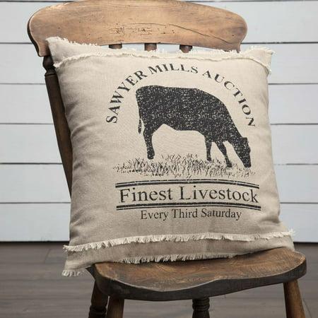 Khaki Tan Farmhouse Bedding Miller Farm Charcoal Cow Cotton Stenciled Chambray Nature Print Square 18x18 Pillow (Pillow Cover, Pillow Insert)](Cow Print)