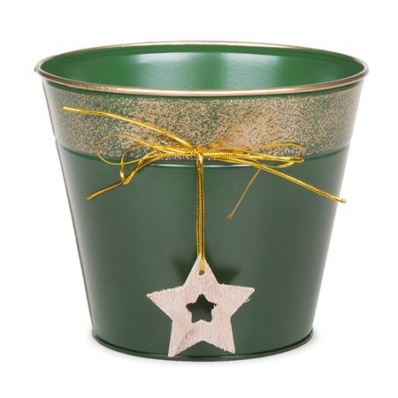 Round holiday metal bucket with star ornament small 6in for Christmas tin pails