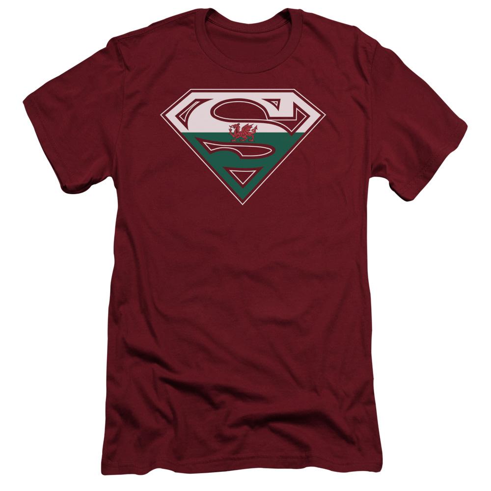 Superman DC Comics Welsh Flag Shield Adult Slim T-Shirt Tee