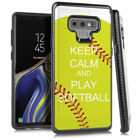 - For Samsung Galaxy Note 9 Case, OneToughShield ® Dual Layer ShockProof Protector Phone Case with Brushed Texture - Keep Calm Softball