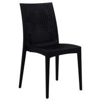 LeisureMod Weave Mace Indoor Outdoor Dining Chair in Black