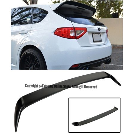 For 08-14 Subaru WRX & STi Hatchback / Wagon Rear FiberGlass Add-On Extension Wing Spoiler Gurney Flap 2008 2009 2010 2011 2012 2013 2014 08 09 10 11 12 13