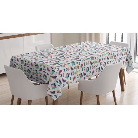 Hipster Tablecloth, Teenager Fun Pattern with Mustache Photo Camera Scooter Sneakers and Sunglasses, Rectangular Table Cover for Dining Room Kitchen, 60 X 90 Inches, Multicolor, by Ambesonne