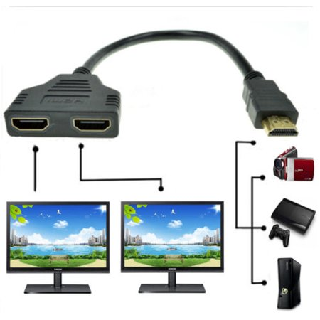 1080P HDMI 1 In 2 Out Splitter Adapter Converter For PS3 PS4 Xbox HDTV -