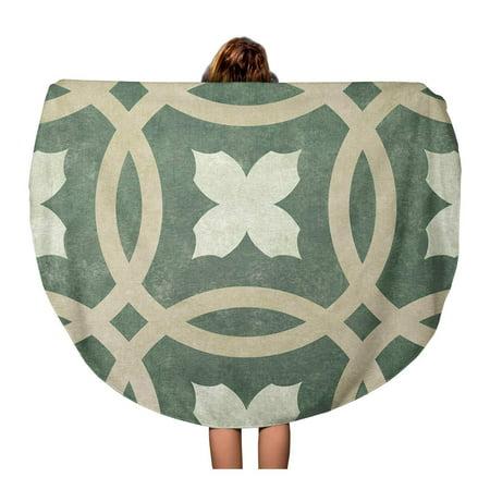 SIDONKU 60 inch Round Beach Towel Blanket Tan Pattern of Circles and Floral Brown Abstract Curve Travel Circle Circular Towels Mat Tapestry Beach (Roun Brown)