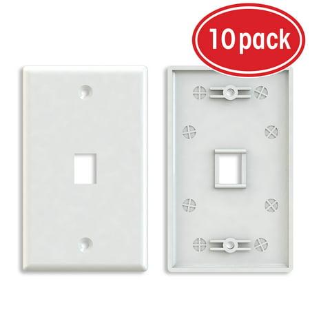 Ethernet Wall Plate, GearIT (10-Pack) 1 Port Cat6 RJ45 Wall Plate Keystone Jack, White