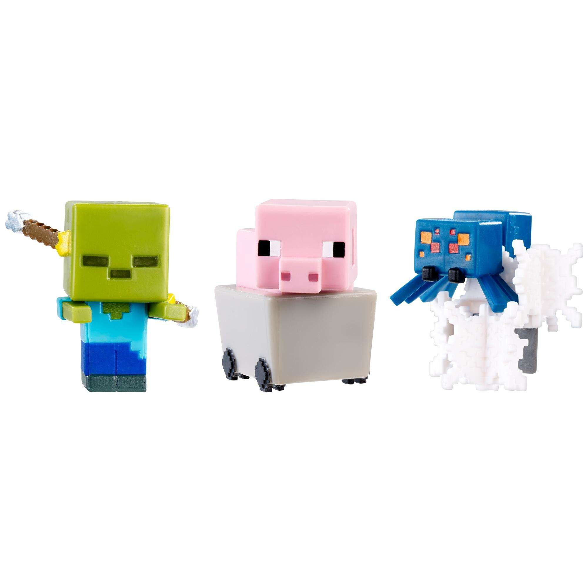 Minecraft Mini Figures 3-Pack Pig In Cart, Spectral DaMage Zombie, Cave Spider In Webs by Mattel, Inc.